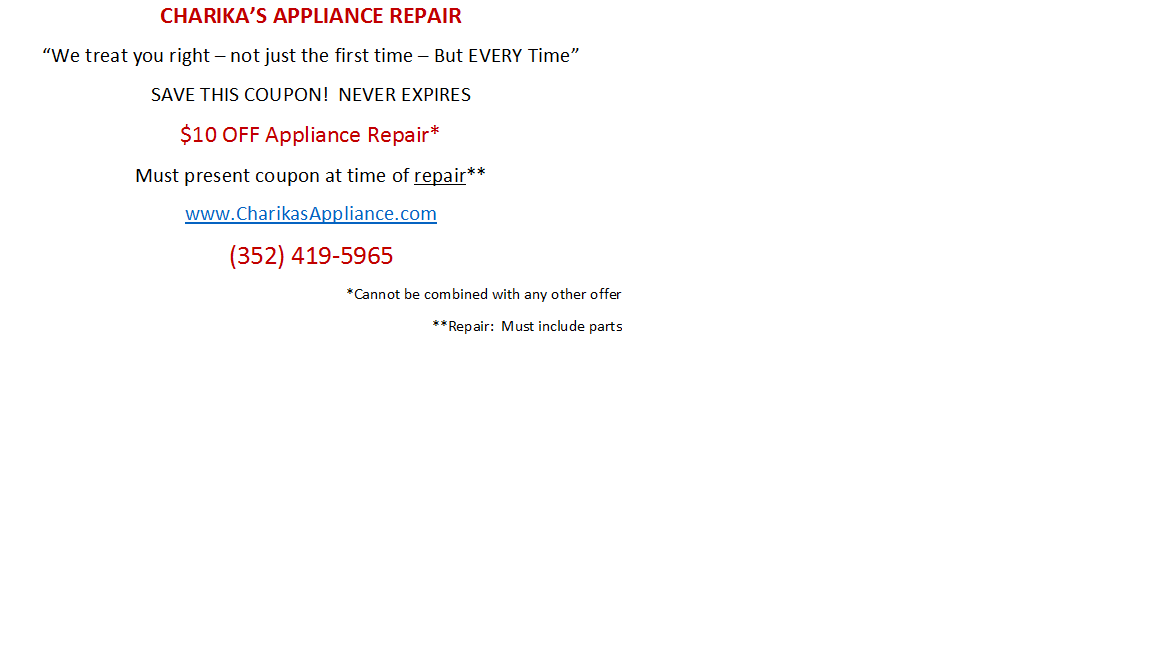 Charika Appliance Repair Inverness Fl 34450